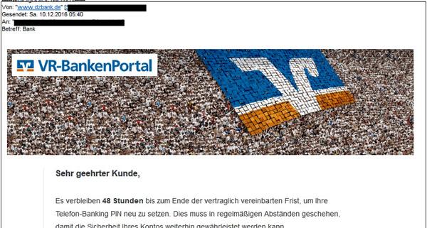 Beispiel einer Phishing-Mail mit angeblichem Absender DZ BANK und Logo des VR-BankenPortals